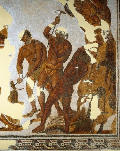 Stock Photo: 1788-22710 Tunisia, Dougga, Mosaic work depicting the Cyclops forging the Zeus thunderbolts in the Vulcan cave