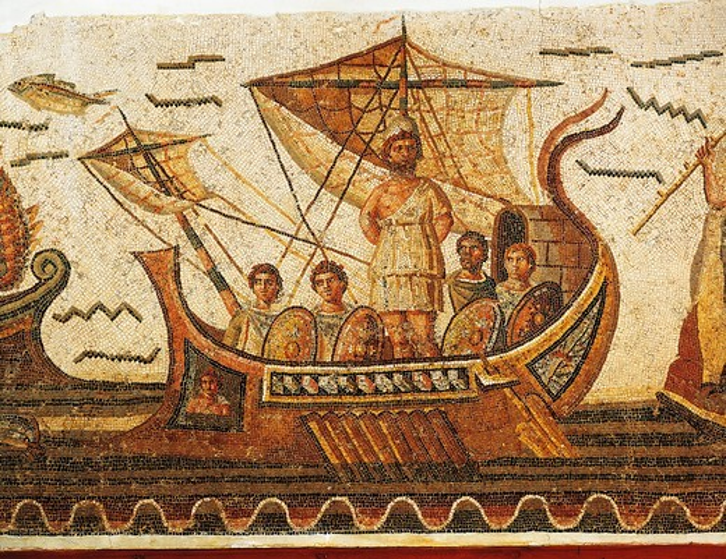 Stock Photo: 1788-22712 Tunisia, Dougga, Mosaic work depicting Ulysses (Odysseus) and the Sirens