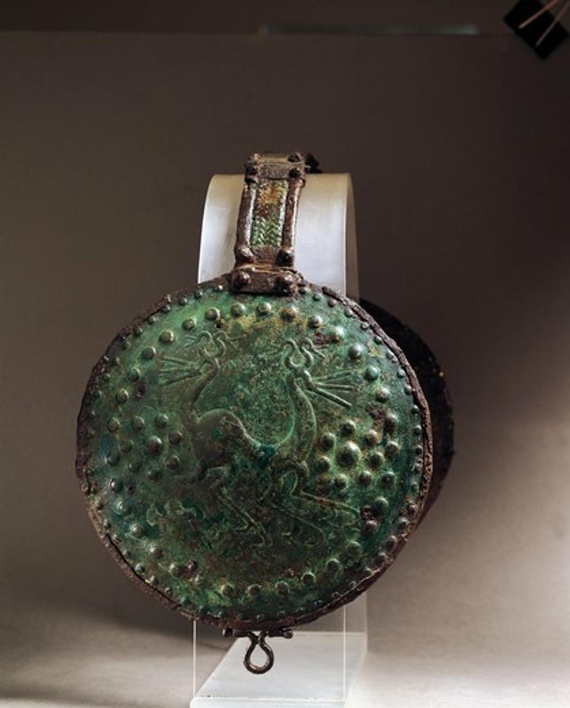 Italy, Abruzzo, Alfedena, Medium-Adriatic bronze disk from an armor : Stock Photo