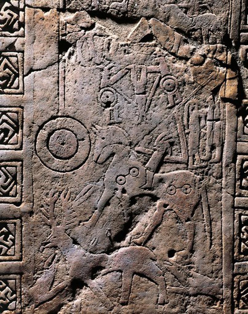 Stock Photo: 1788-22753 Italy, Apulia, Detail of Daunian stele, engraved hunting scene