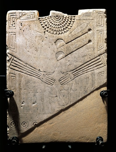 Italy, Apulia, Detail of Daunian stele, engraved gloves and jewellery : Stock Photo