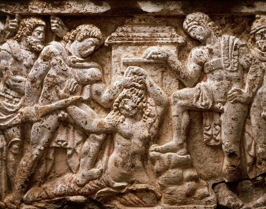 Italy, Umbria, Orvieto, Torre San Severo, Detail of Sarcophagus representing the Trojan War : Stock Photo