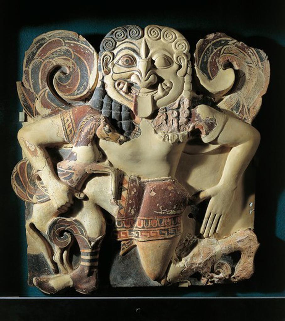 Italy, Sicily, Syracuse, Winged gorgon running, terracotta : Stock Photo