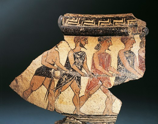 Oenochoe (or oinochoe, wine jug) depicting men pulling a rope (probably Greek men pulling the Trojan Horse), 630 B.C., fragment : Stock Photo