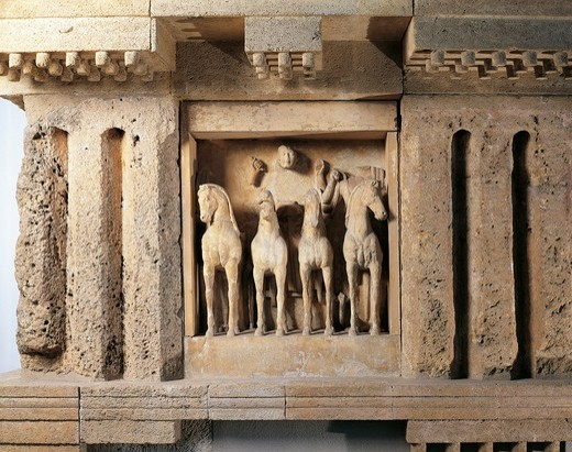 Stock Photo: 1788-22852 Italy, Sicily, Selinunte, Detail of the Sun Quadriga from metope of the temple C, limestone