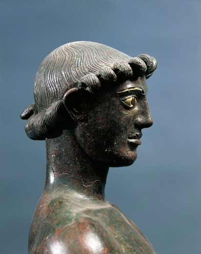 Stock Photo: 1788-22864 Italy, Sicily, Selinunte, Detail of Statuette representing an ephebus, bronze