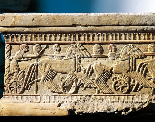 Stock Photo: 1788-22874 Italy, Tuscany, Chiusi, Relief representing a charioteer race, stone