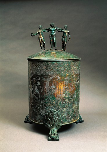 Stock Photo: 1788-22881 Italy, Lazio, Preneste, The Ficoroni Cista (copper casket used to hold jewels) with a decoration depicting the Argonauts Myth