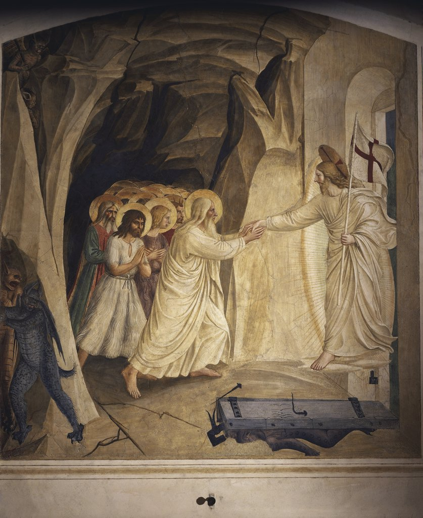 Stock Photo: 1788-2291 Italy - Tuscany region - Florence. Convent of St. Mark, 1st floor cells. Christ's descent into Limbo (1437-45) by Beato Angelico (c. 1400-55). Fresco