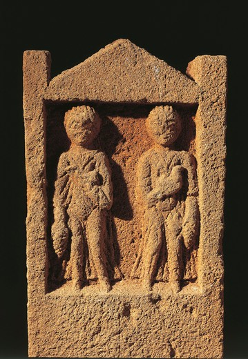 Algeria, Tipasa, Stele depicting two persons bringing offers : Stock Photo