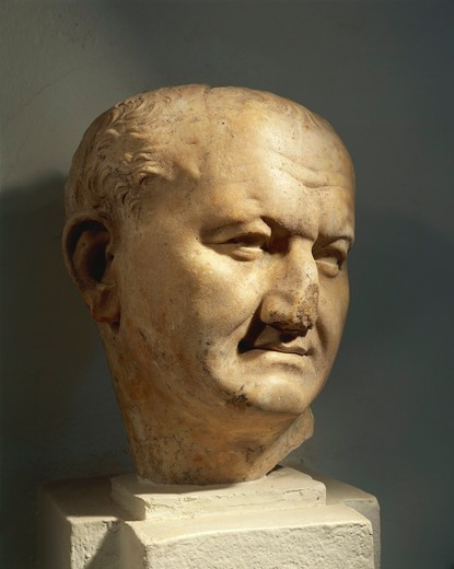 Algeria, Head of the Roman Emperor Vespasian (Titus Flavius Vespasianus, 9 A.D. - 79 A.D.), Flavian dynasty, imperial age, marble : Stock Photo