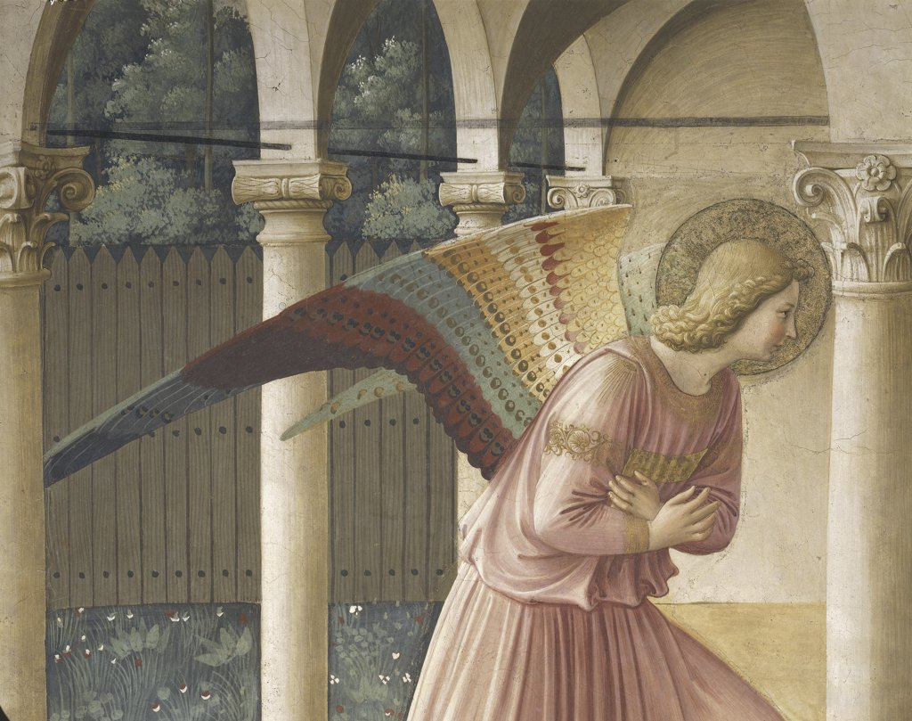 Italy - Tuscany Region - Florence - Convent of St. Mark - First floor cells - The Annunciation by Beato Angelico - Gabriel the Archangel - Fresco detail (1437-45) : Stock Photo
