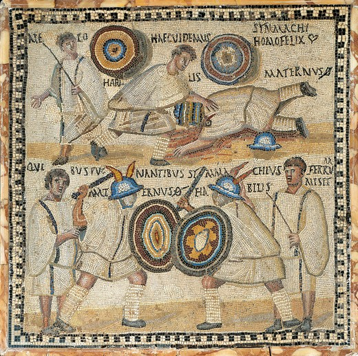 Stock Photo: 1788-23009 Italy, Rome, Mosaic work depicting gladiators and fightings