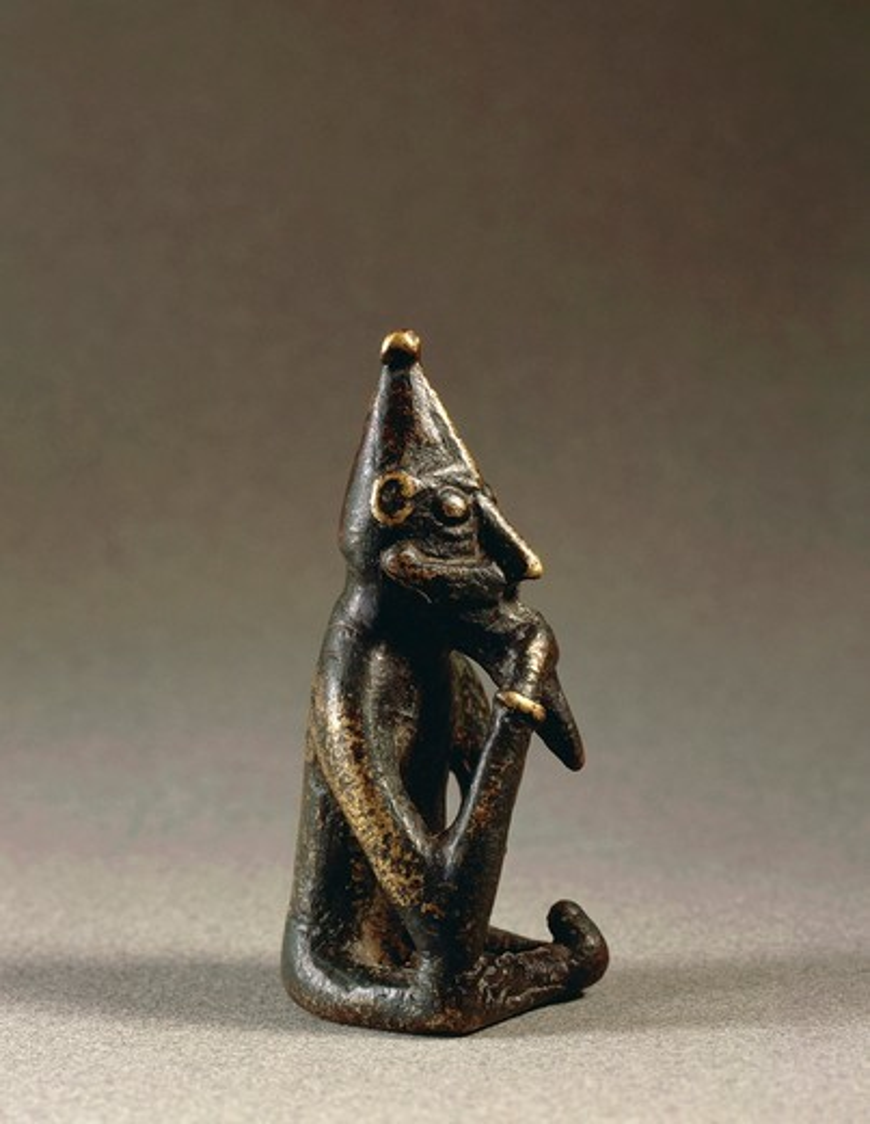 Stock Photo: 1788-23065 Sweden, Sodermanland, Rallinge, Statuette representing Freyr, nordic fertility God, bronze