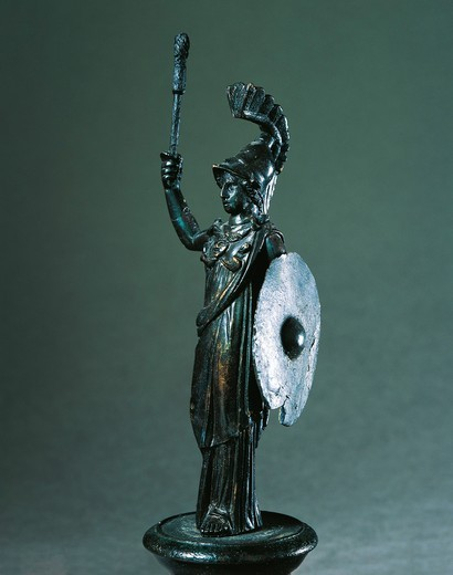 Statuette representing Minerva (goddess of wisdom), bronze : Stock Photo