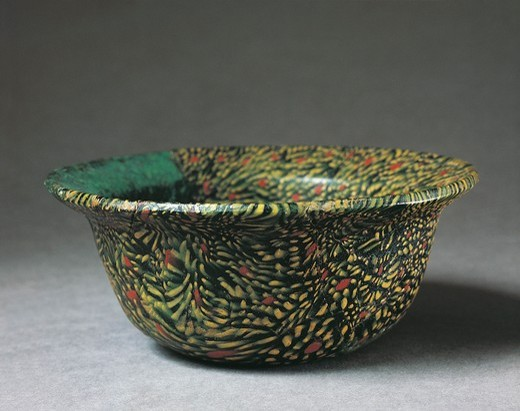 "Stock Photo: 1788-23083 Small glass tub, Glasswork technique called """"millefiori"""""