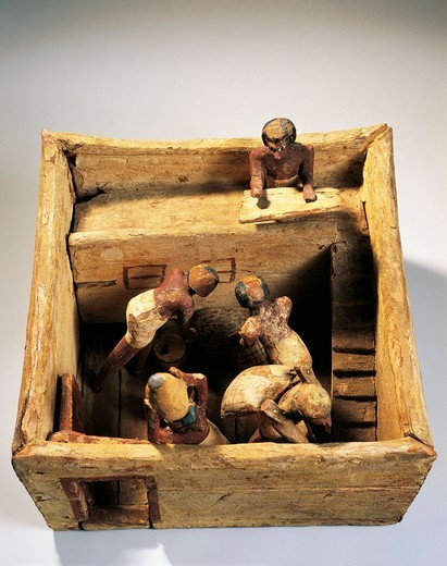 Asyut necropolis, Model of a barn with workers, plastered wood : Stock Photo