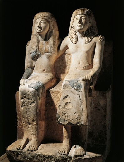 Stock Photo: 1788-23225 Egypt, Deir el-Medina, Statuary group representing Pharaoh Ramesses II (circa 1279-1213 B.C.) and his wife Nefertari (circa 1290-1254 B.C.)