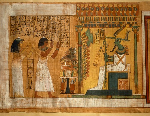 Stock Photo: 1788-23229 Egypt, Thebes, Tomb of Kha, The offer and worshiping to Osiris seated on a throne, fragment of the book of the dead, two column papyrus with hieroglyphs and polychrome drawings, eighteenth dynasty