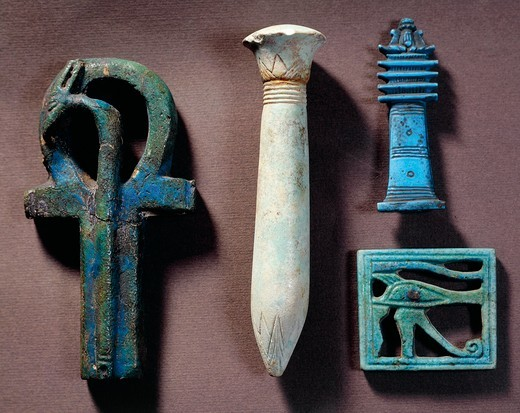 Ankh (crux ansata or key of life), symbol of eternal life, Djed pillar (papyrus-shaped column) symbol of the backbone of the God Osiris, udjat-eye (eye of Horus), symbol of the regeneration : Stock Photo