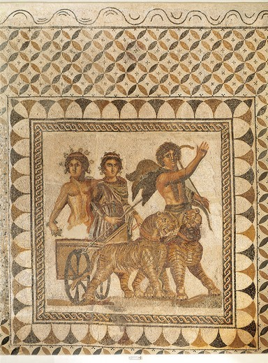 Stock Photo: 1788-23260 Spain, Seville, Ecija, Mosaic work depicting Bacchus (Dionysus)