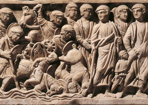 Stock Photo: 1788-23263 Sarcophagus representing the escape from Egypt, front detail
