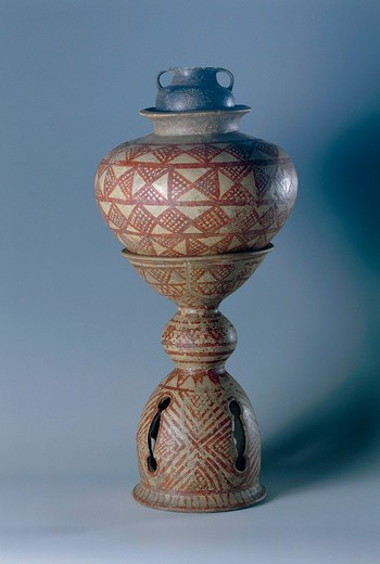 Italy, Civita Castellana, Falerii Veteres, Falisci tribe, Jar with stand and cup : Stock Photo