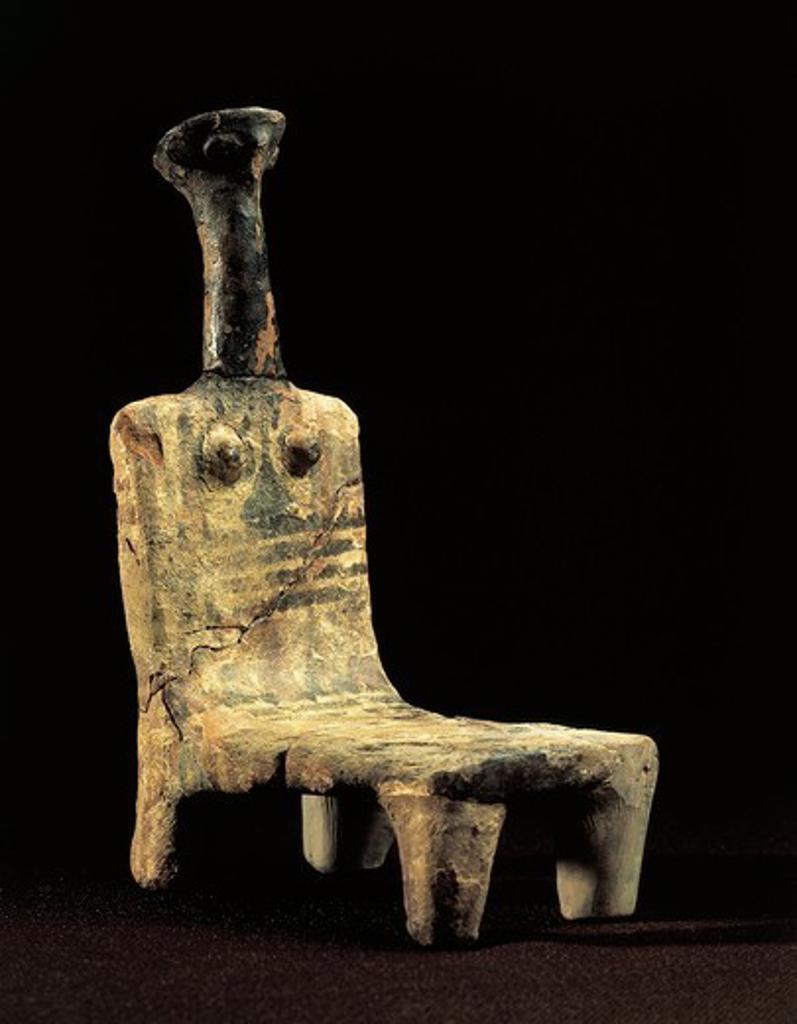 Stock Photo: 1788-23439 Statuette representing a seated goddess, Philistine period, terracotta