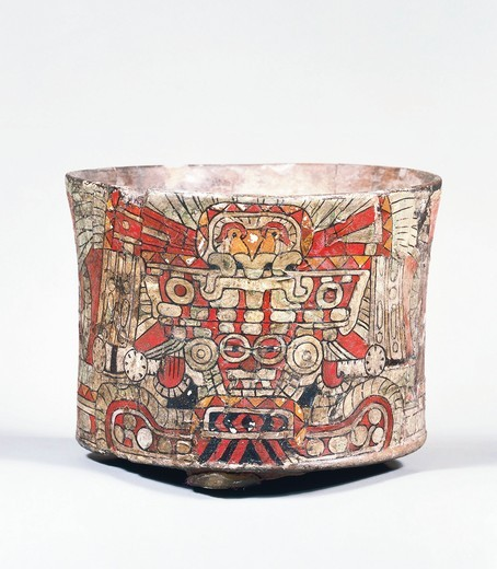Stock Photo: 1788-23570 Cup representing Tlaloc, the God of rain, Teotihuacan Culture, terracotta