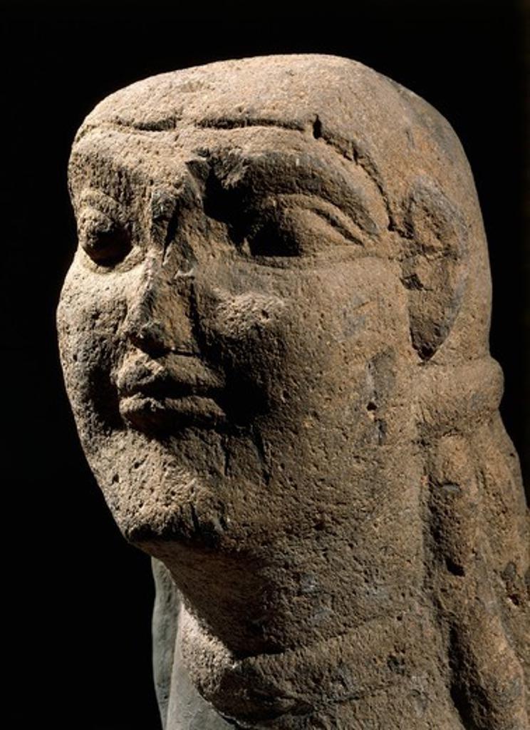 Italy, Lazio, Vulci, Sculpture representing Sphinx head, stone : Stock Photo