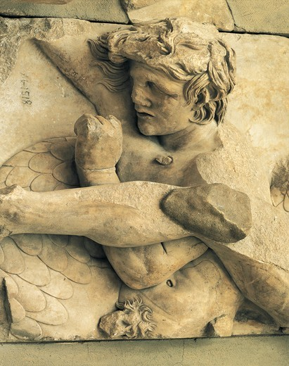 Stock Photo: 1788-23620 Turkey, Bergama, Detail of the frieze from Pergamon altar representing a dying Galatian