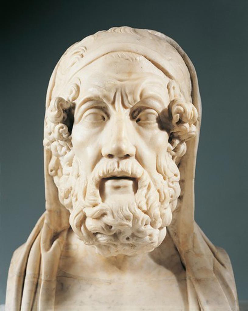 Stock Photo: 1788-23645 Head of Homer (9th-8th century B.C.), Greek poet, marble