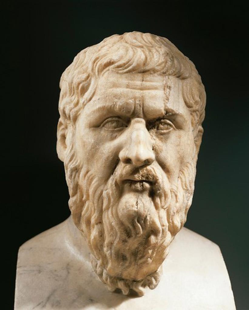 Stock Photo: 1788-23646 Head of Plato (circa 428- 248 B.C.), Greek philosopher, marble