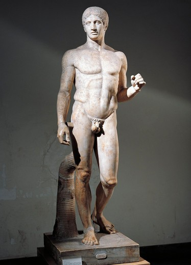 Stock Photo: 1788-23653 Italy, Campania, Pompeii, The Doryphoros, Hellenistic Roman copy after the original bronze by Polyclitus (circa 450-415 B.C.), marble