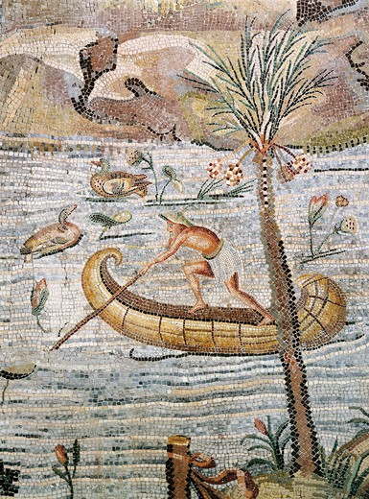 Italy, Lazio, Palestrina, Sanctuary at Praeneste, Mosaic work depicting a sailing scene along the Nile : Stock Photo
