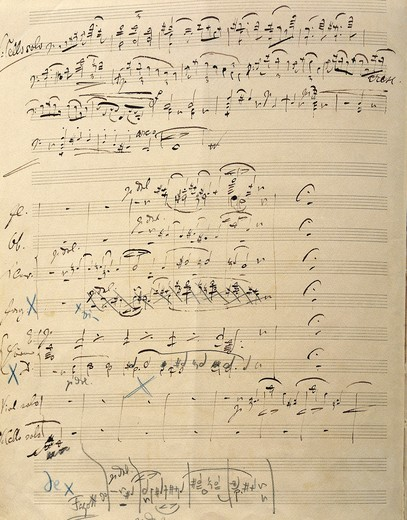 Double Concerto in A minor, for violin and cello solos and orchestra, Op. 102, Autograph score by Johannes Brahms : Stock Photo