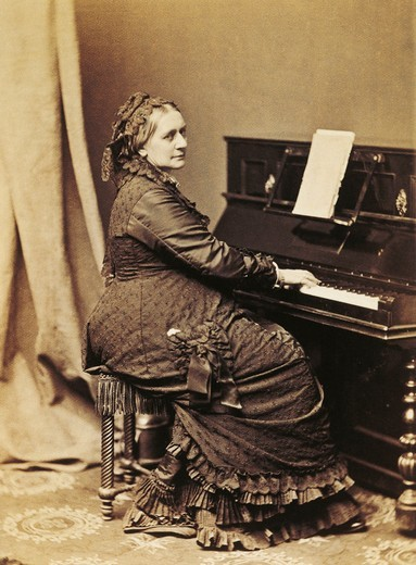 Germany, photographic portrait of German pianist and composer, Clara Schumann at piano : Stock Photo
