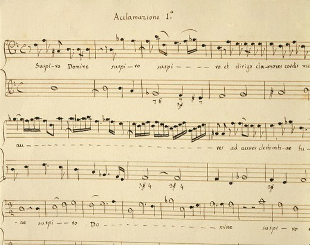 Italy, Venice, Acclamationi Divote, Op. 2, score by Giovanni Legrenzi : Stock Photo