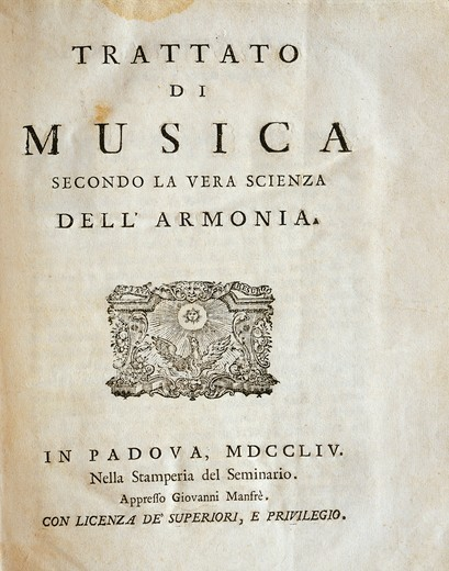 "Stock Photo: 1788-23822 Frontispiece of Treatise of musical theory (""""Trattato di musica secondo la vera scienza dell'armonia""""), Giuseppe Tartini, Padua, 1754"