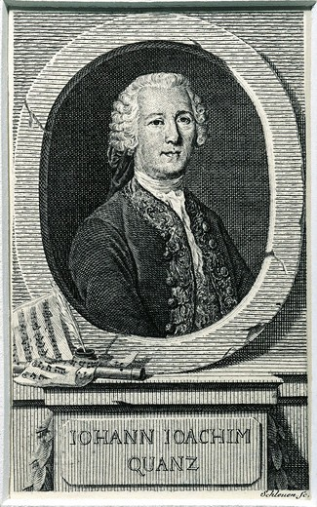 Portrait of Johann Joachim Quantz, German composer and flautist, engraving : Stock Photo