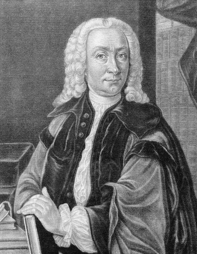 Portrait of Johann Matthias Gesner, Rector of Leipzig St. Thomas School (Thomasschule) from 1730 to 1734, print : Stock Photo