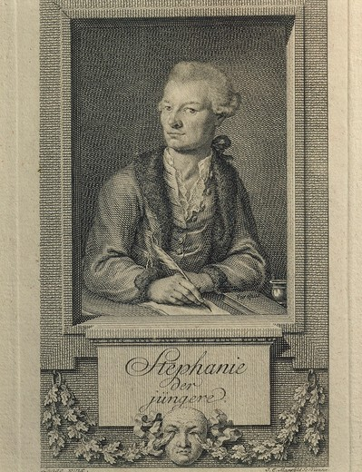 Austria, Vienna, Portrait of Johann Gottlieb Stephanie the Younger (Breslau, 1741 - Vienna, 1800), Austrian playwright, theatre manager and librettist, engraving : Stock Photo