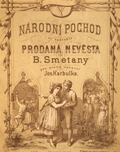 Czechoslovakia, Prague, Bedrich Smetana (1824–1884), frontispiece of the March dedicated to the Czech National Guard (Narodni Pochod), The Bartered Bride (Prodana Nevesta), Piano transcription : Stock Photo