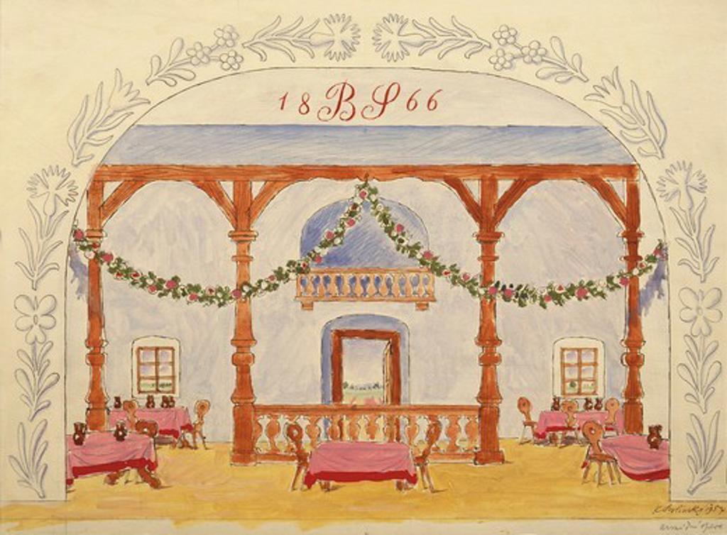 Czechoslovakia, Prague, Bedrich Smetana (1824–1884), Set design for The Bartered Bride (Prodana Nevesta) : Stock Photo