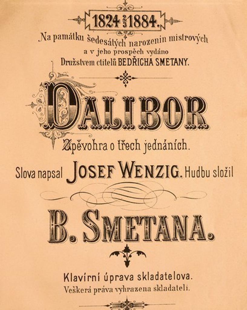 Czechoslovakia, Prague, Bedrich Smetana (1824-1884), 'Dalibor', title page : Stock Photo