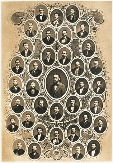 Czechoslovakia, Prague, Portraits of members of Prague Provisional Theatre Orchestra, with Bedrich Smetana and Antonin Dvorak : Stock Photo