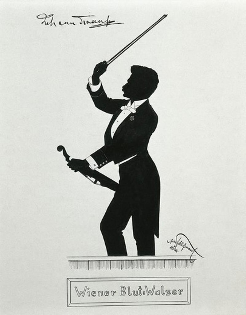 Austria, Vienna, Silhouette of conductor Johann Strauss : Stock Photo
