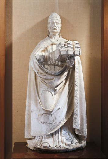 Stock Photo: 1788-24002 Statue of pope Celestine V holding Italian town of L'aquila, by Girolamo da Vicenza