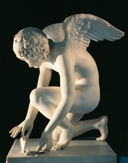 Stock Photo: 1788-24071 Marble statue of Cupid and Butterfly, by Antoine-Denis Chaudet, completed by Pierre Cartellier