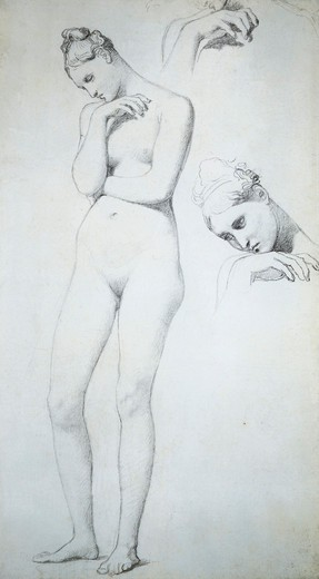 France, Nude study for Stratonice : Stock Photo